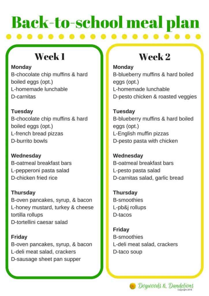 Back to School Meal Plan