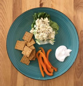 Chicken salad, peppers, and crackers