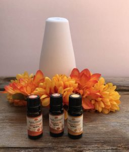 A diffuser and fall essential oil blends.