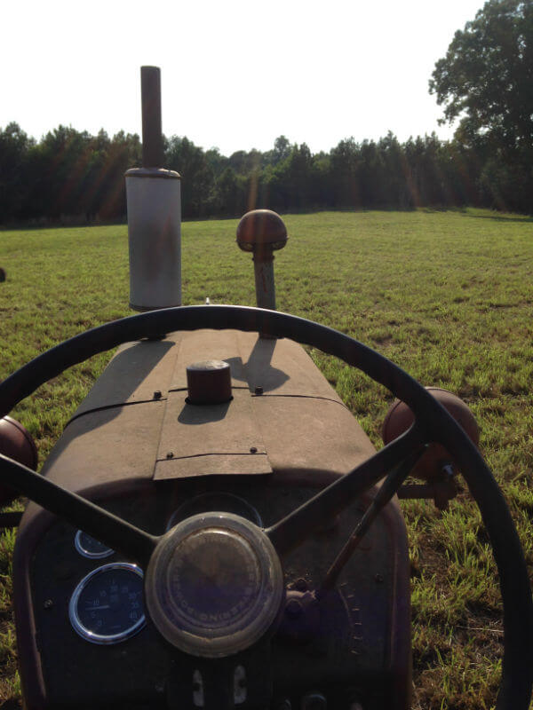 Looking over the hood of a tractor