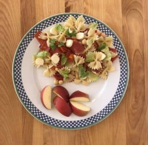 Pepperoni pasta salad and apples
