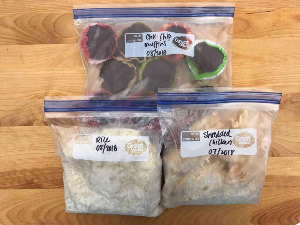 frozen muffins, frozen rice, frozen chicken, save money on groceries, batch cooking