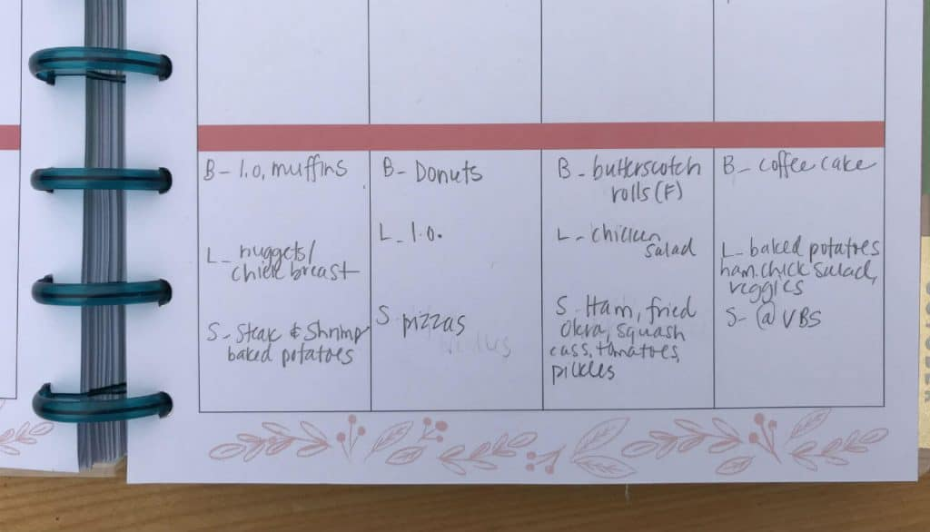 calendar showing a meal plan