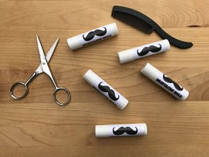 Mustache Wax with comb and scissors