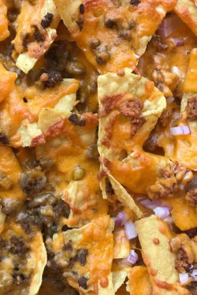 sheet pan nachos closeup