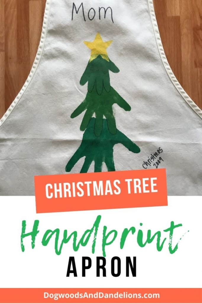 Christmas tree made from handprints on an apron.