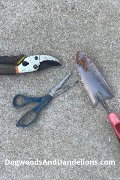 tools to be cleaned as winter garden prep