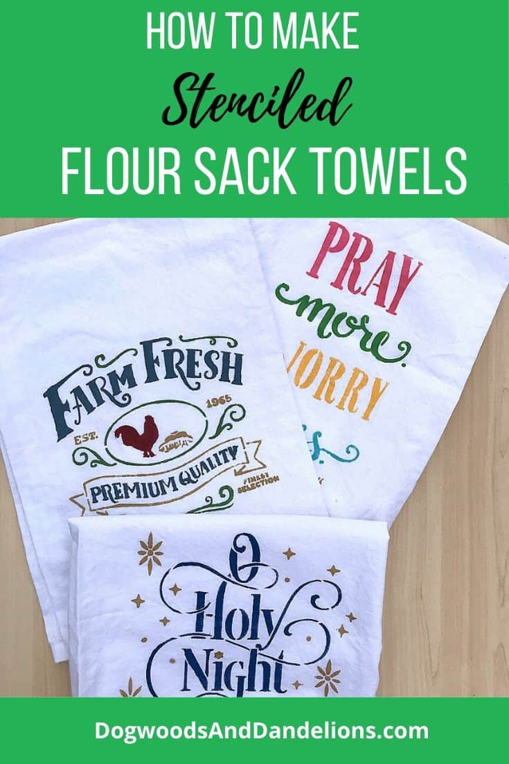 stenciled flour sack towels