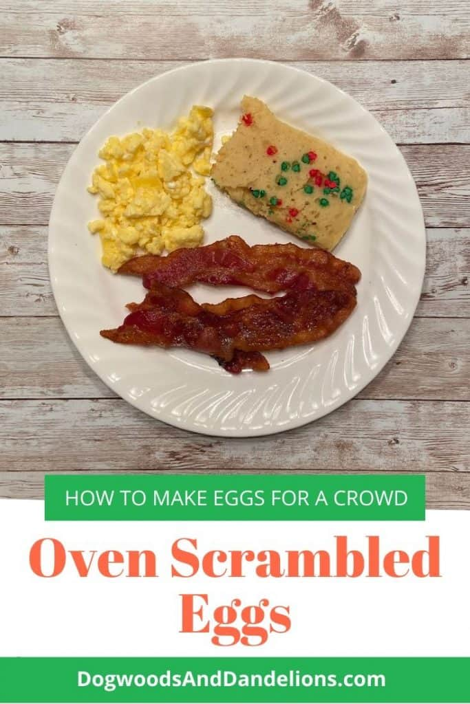 The fluffy scrambled eggs served with bacon and oven pancakes