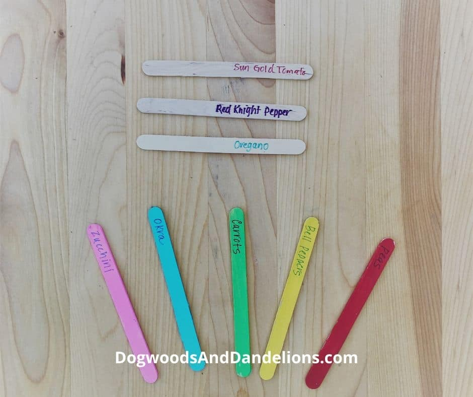Popsicle sticks to use as plant markers in the garden.