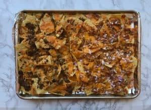 BBQ chicken sheet pan nachos